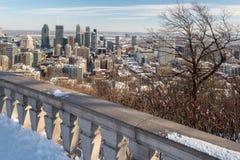 蒙特利尔地平线在冬天2018年 免版税图库摄影