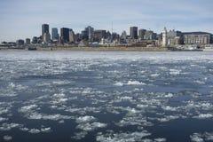 蒙特利尔地平线在冬天 库存图片