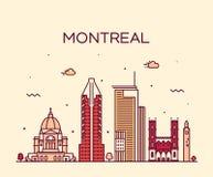 蒙特利尔市地平线线性魁北克加拿大的传染媒介 库存例证