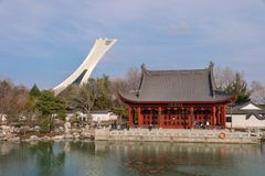 蒙特利尔植物园的中国庭院 免版税库存图片