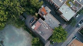 蒙特利尔的空中图象在看一个朦胧的夏日期间下来 免版税库存照片