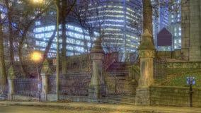 蒙特利尔街道在夜之前 免版税库存照片