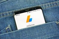 蒙特利尔,加拿大- 2018年10月4日:在s8屏幕上的谷歌Adsense应用程序 谷歌是提供a的美国技术公司 免版税图库摄影