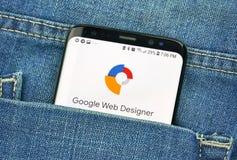 蒙特利尔,加拿大- 2018年10月4日:谷歌网在s8屏幕上的设计师应用程序 谷歌是提供的美国技术公司 免版税库存图片