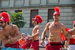 蒙特利尔,加拿大- 2013年8月, 18 -同性恋自豪日游行 免版税库存照片