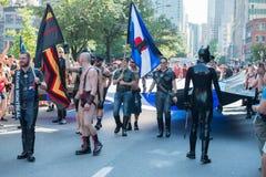 蒙特利尔,加拿大- 2013年8月, 18 -同性恋自豪日游行 免版税库存图片