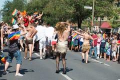 蒙特利尔,加拿大- 2013年8月, 18 -同性恋自豪日游行 图库摄影