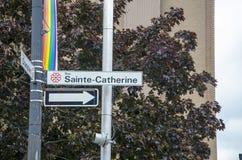 蒙特利尔,魁北克,加拿大- 2016年7月18日:云香Sai的交通标志 免版税库存图片