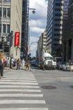 蒙特利尔,魁北克,加拿大- 2016年7月18日-下来普通街道 免版税库存图片