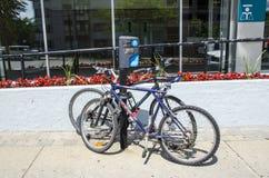 蒙特利尔,魁北克,加拿大- 2016年7月18日-停车处标志外部我 库存照片