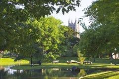 蒙特利尔 有池塘的小公园在Westmount 加拿大 免版税库存图片