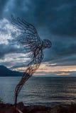 蒙特勒,瑞士欧洲- 9月14日:现代艺术雕象 库存照片