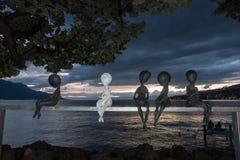 蒙特勒,瑞士欧洲- 9月14日:现代艺术雕象 库存图片