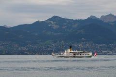 蒙特勒,瑞士欧洲- 9月15日:蒸alo的沃韦 免版税库存照片