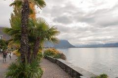 蒙特勒,瑞士- 2015年10月29日:蒙特勒和莱芒湖的堤防秋天视图  免版税库存图片