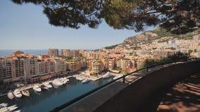 蒙特卡洛港口全景在摩纳哥 在行动的录影 影视素材
