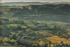 蒙特普齐亚诺- TUSCANY/ITALY, 2016年10月29日:在蒙特普齐亚诺乡下的一个田园诗风景大视图,如被看见从 免版税库存图片
