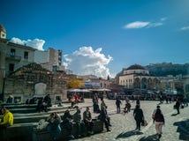 蒙纳斯提拉奇广场在雅典的中心 库存照片