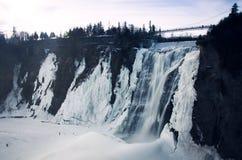 蒙莫朗西瀑布在冬天 库存照片