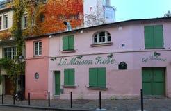 蒙马特的- La Maison罗斯历史小餐馆-桃红色议院 法国巴黎 库存图片