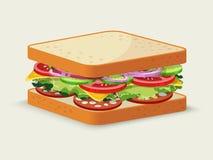蒜味咸腊肠三明治象征 免版税库存照片