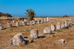 蒜味咸腊肠古老废墟在塞浦路斯 免版税库存图片