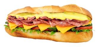 蒜味咸腊肠和乳酪长方形宝石三明治 免版税库存照片