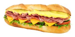 蒜味咸腊肠和乳酪长方形宝石三明治 库存照片