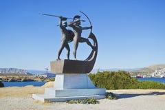 蒜味咸腊肠希腊争斗的纪念品  免版税库存照片