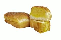 蒜味面包有白色背景 库存照片