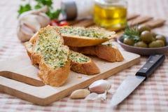 蒜味面包 免版税图库摄影
