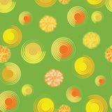 蒲公英的抽象在绿色背景的 无缝的模式 库存照片
