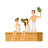 蒸与桦树笤帚的人佩带的毛巾在蒸汽浴蒸汽房,温泉做法五颜六色的传染媒介例证 库存照片