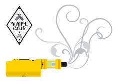 蒸发器香烟,电子, vape设备,在舱内甲板的商店商标 免版税库存图片