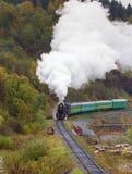 蒸在高架桥的火车在山 免版税库存图片
