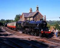 蒸在驻地, Highley,英国的火车 免版税库存图片