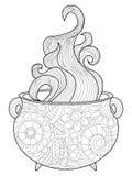 蒸汽巫婆大锅成人的彩图传染媒介 库存例证
