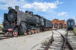 蒸汽引擎活动ER类型Eh2在Voroshilovgrad, Brjanksk, 305个单位builded 1934-1936,被显示在AvtoVAZ技术M 免版税库存照片