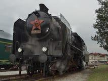 蒸汽机车到达驻地 免版税库存照片