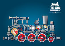 蒸汽机车或火车从机械零件 免版税库存照片