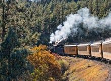蒸汽机车拉扯杜兰戈到Silverton火车 免版税库存照片