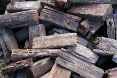 蒸汽机车的木柴 免版税库存图片