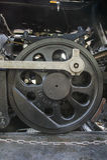蒸汽机车驱动轮(19世纪)葡萄酒 免版税库存图片