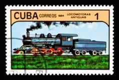 蒸汽机车,古色古香的机车serie,大约1984年 库存照片