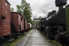 蒸汽机车,铁路 免版税图库摄影