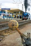 蒸汽机车Albatros 498 022,布拉格火车站Smicho 免版税图库摄影