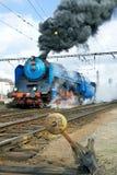 蒸汽机车Albatros 498 022,布拉格火车站Smicho 免版税库存图片