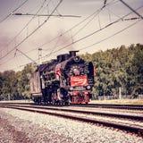 蒸汽机车Cherbinka移动 图库摄影