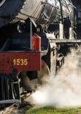 蒸汽火车吹的蒸汽 免版税库存照片