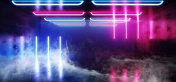 蒸汽烟雾萤光充满活力的霓虹未来派科学幻想小说发光的紫色蓝色虚拟现实网络隧道水泥难看的东西地板 皇族释放例证